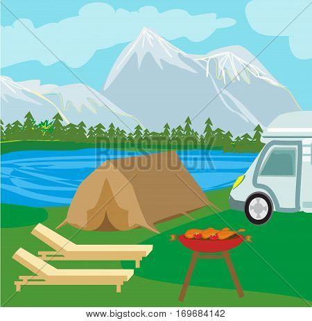Summer picnic on rural landscape , vector illustration
