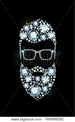 Bearded Man with Glasses made of Diamonds
