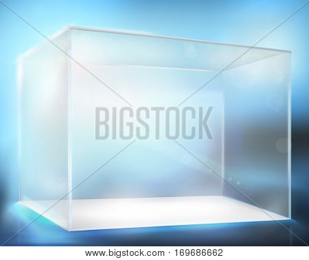 Glass display case. Vector illustration.