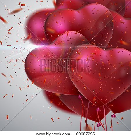Balloon Hearts. Vector holiday illustration of flying bunch of red balloon hearts, lens flare light effect, sparkling red confetti. Happy Valentines Day. Festive romantic decoration. Wedding concept