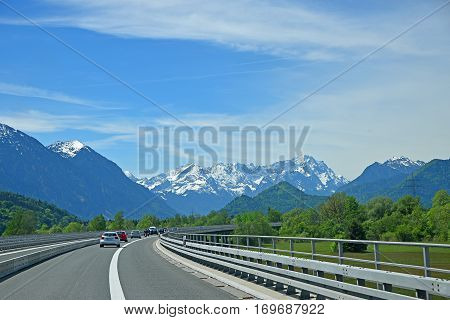 highway to garmisch partenkirchen view to zugspitze mountain mass upper bavaria
