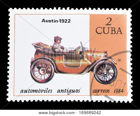 CUBA - CIRCA 1984 : Cancelled postage stamp printed by Cuba, that shows Austin car.