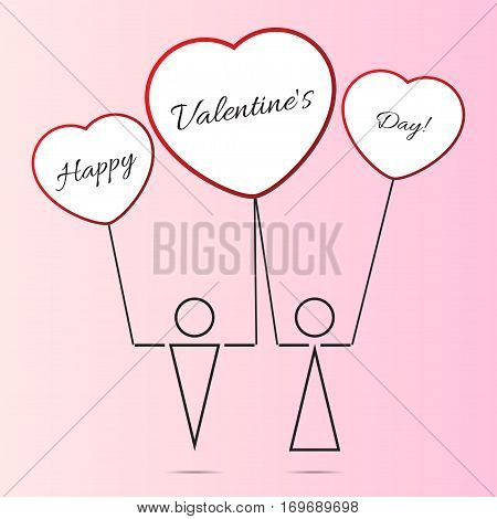 valentine card - black outline stylized figures boy and girl with shadows three red white heart balloons and black text in front of a light pink background