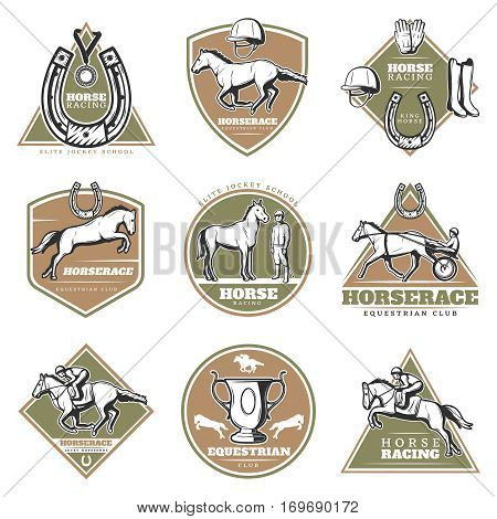 Colorful equestrian sport labels set with jockeys riding horses and equipment in vintage style isolated vector illustration