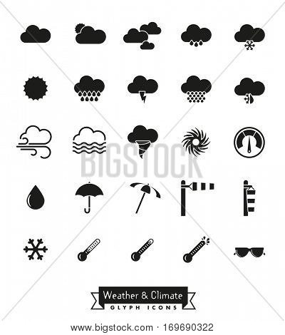 Weather and climate glyph icons set. Collection of weather and climate related isolated vector icons