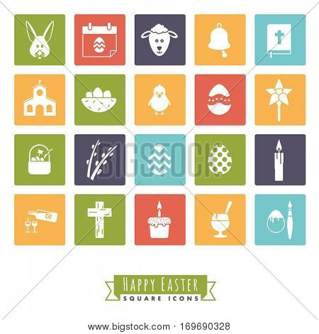 Easter Symbols Square Icon Set. Collection of 20 Happy Easter Icons in color squares