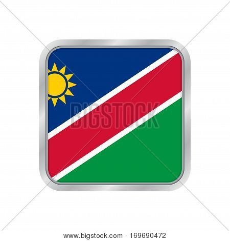 National flag of Namibia. Shiny metallic gray square button with shadow.