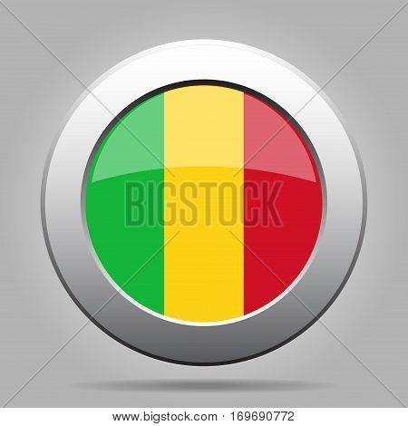 National flag of Mali. Shiny metal gray round button with shadow.