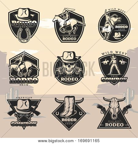 Black vintage rodeo logos set with cowboys animals weapon and western elements on wild west landscape isolated vector illustration