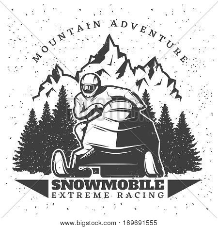 Vintage winter extreme sport template with man riding snowmobile on forest and mountain landscape isolated vector illustration