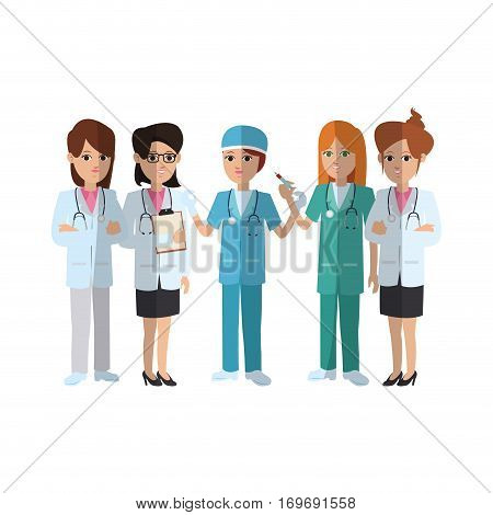 group of medical doctors and nurse over white background. colorful design. vector illustration