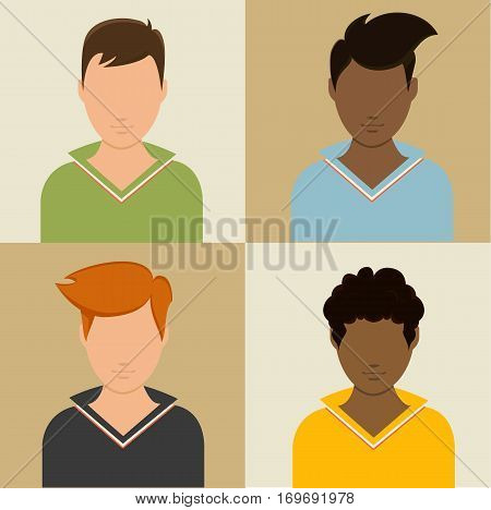 Set avatars of men flat modern style vector illustration stock