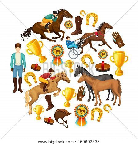 Equestrian cartoon round composition with jockey riding horse awards stallions horseshoe gloves cap boots isolated vector illustration