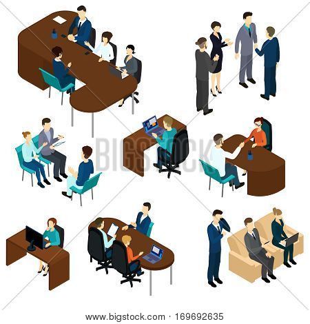 Isometric recruitment process set with business people interview job candidates in different situations isolated vector illustration
