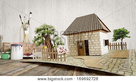 house from painted paper real estate sale business concept photo