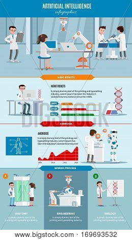 Artificial intelligence infographic concept with scientists and cybernetic engineering robotic nano technologies vector illustration