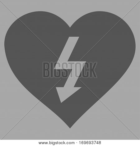 Power Love Heart flat icon. Vector dark gray symbol. Pictograph is isolated on a silver background. Trendy flat style illustration for web site design logo ads apps user interface.