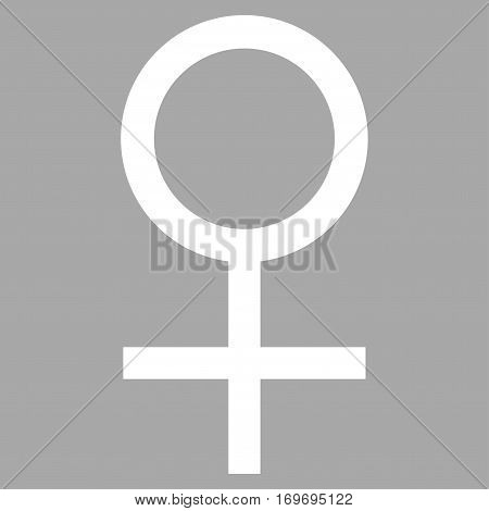 Venus Female Symbol flat icon. Vector white symbol. Pictograph is isolated on a silver background. Trendy flat style illustration for web site design logo ads apps user interface.