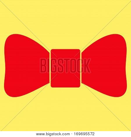 Bow Tie flat icon. Vector red symbol. Pictogram is isolated on a yellow background. Trendy flat style illustration for web site design logo ads apps user interface.