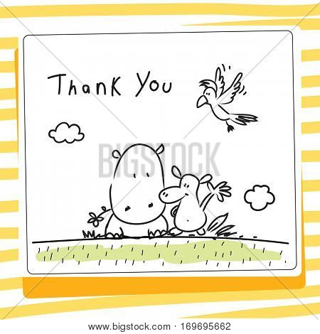 Kids thank you card vector illustration. Sketch, scribble style doodle, with animals.