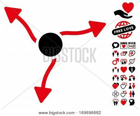 Curve Arrows icon with bonus marriage pictograph collection. Vector illustration style is flat rounded iconic intensive red and black symbols on white background.