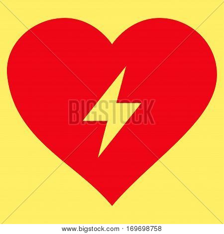 Heart Power flat icon. Vector red symbol. Pictograph is isolated on a yellow background. Trendy flat style illustration for web site design logo ads apps user interface.