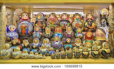 Bright traditional Russian souvenir - Matryoshka. Saint Petersburg.