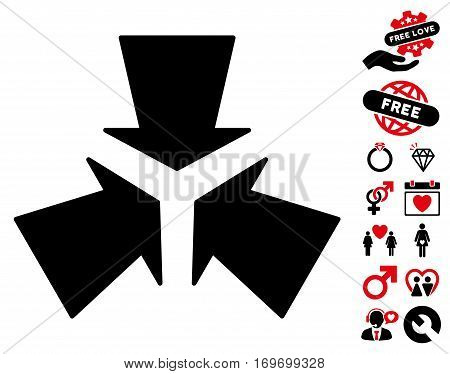 Shrink Arrows pictograph with bonus marriage design elements. Vector illustration style is flat rounded iconic intensive red and black symbols on white background.