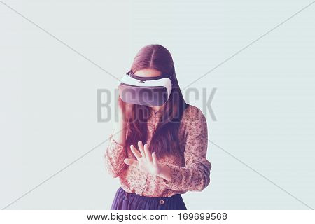 Woman with glasses of virtual reality. Future technology concept. Modern imaging technology.