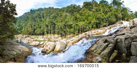 Rapid waterfall in the jungle of Laos.