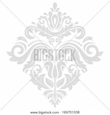 Oriental vector light silver square pattern with arabesques and floral elements. Traditional classic ornament. Vintage pattern with arabesques