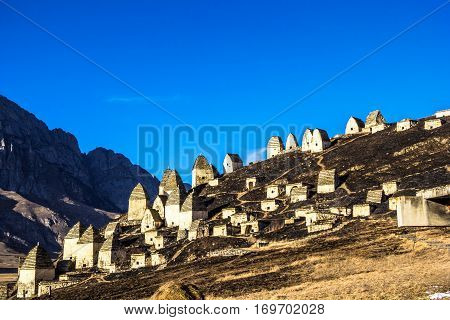 old constructions, mausoleums in the mountain village, Ossetia, the North Caucasus