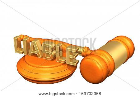 Liable Law Legal Gavel Concept 3D Illustration