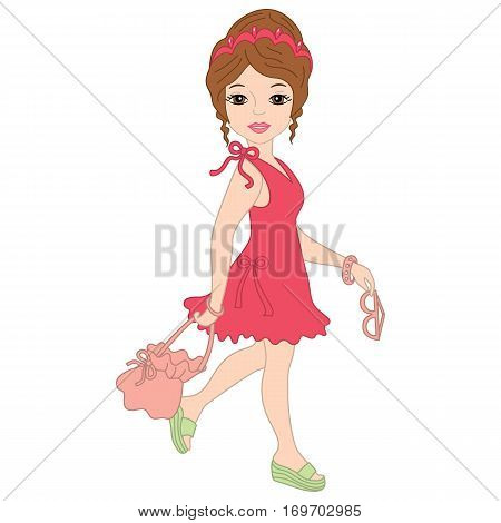 Vector elegant, attractive girl in pink dress and tiara on holidays