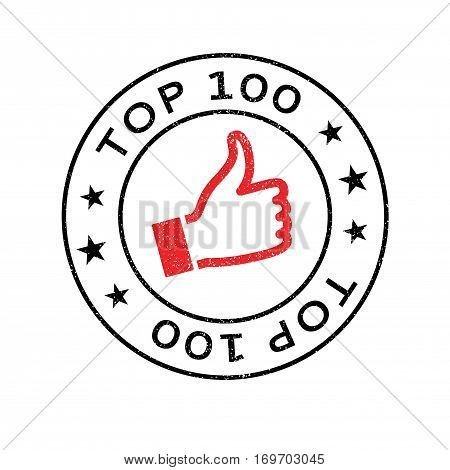 Top 100 rubber stamp. Grunge design with dust scratches. Effects can be easily removed for a clean, crisp look. Color is easily changed.