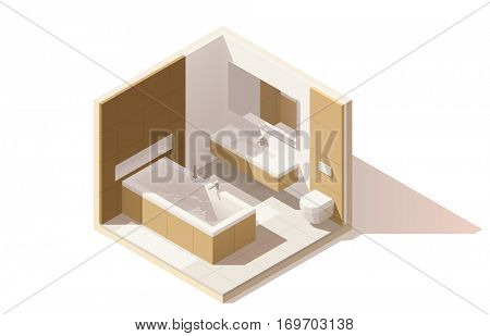 Vector isometric low poly bathroom cutaway icon. Room includes bathtub, furniture, toilet bowl, washbasin