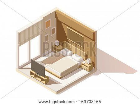 Vector isometric low poly bedroom cutaway icon. Room includes bed, nightstands, other furniture and lamps