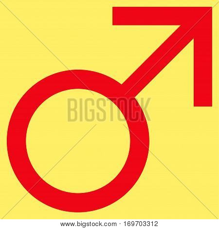 Mars Male Symbol flat icon. Vector red symbol. Pictogram is isolated on a yellow background. Trendy flat style illustration for web site design logo ads apps user interface.