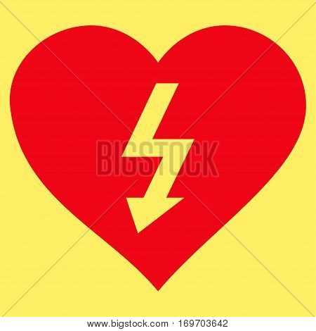 Power Love Heart flat icon. Vector red symbol. Pictograph is isolated on a yellow background. Trendy flat style illustration for web site design logo ads apps user interface.