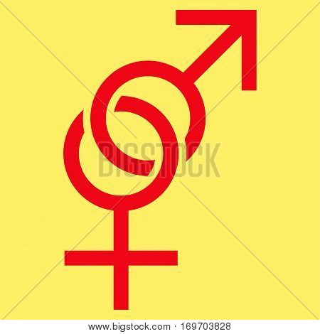 Sex Symbol flat icon. Vector red symbol. Pictograph is isolated on a yellow background. Trendy flat style illustration for web site design logo ads apps user interface.