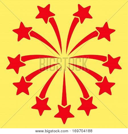 Spherical Fireworks flat icon. Vector red symbol. Pictograph is isolated on a yellow background. Trendy flat style illustration for web site design logo ads apps user interface.