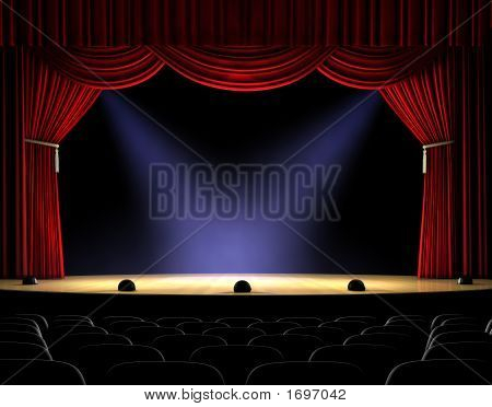 Theatre stage with red curtain and spotlights on the stage floor poster