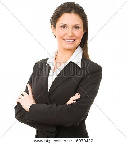 Porträt des modernen Business-Frau, die ihre Gelenkarme auf weißem Hintergrund
