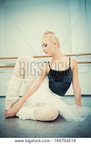 Professional ballet dancer training in a ballet class.