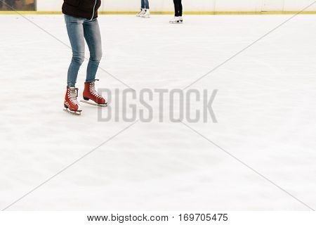 Stylish Happy Skater On A White Skating Rink In A City Center, Health Activity And Celebration Holid