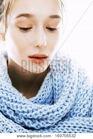 beauty young blond woman in scarf with weathered lips close up isolated, dehydrated