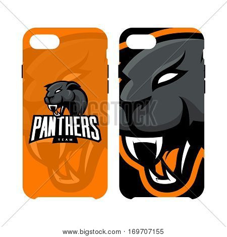 Furious panther sport vector logo concept phone case isolated on white background. Web infographic professional team pictogram.Premium quality wild animal artwork illustration.
