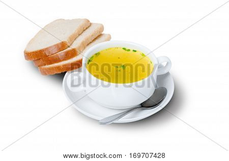 Chicken bouillon with fresh bread in the white bowl on white background. Healthy and tasty food. Beautiful breakfest and dinner