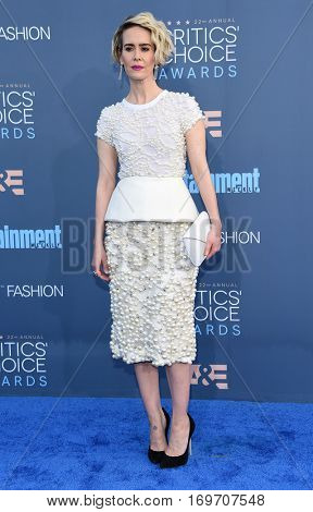 LOS ANGELES - DEC 11:  Sarah Paulson arrives to the Critics' Choice Awards 2016 on December 11, 2016 in Hollywood, CA
