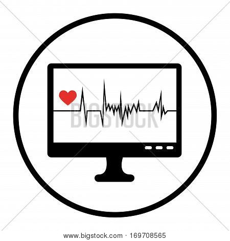 monitor ekg graphic icon vector illustration design